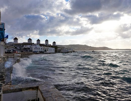 Winter at Mykonos. The famous windmills of Mykonos overlooking the sea.