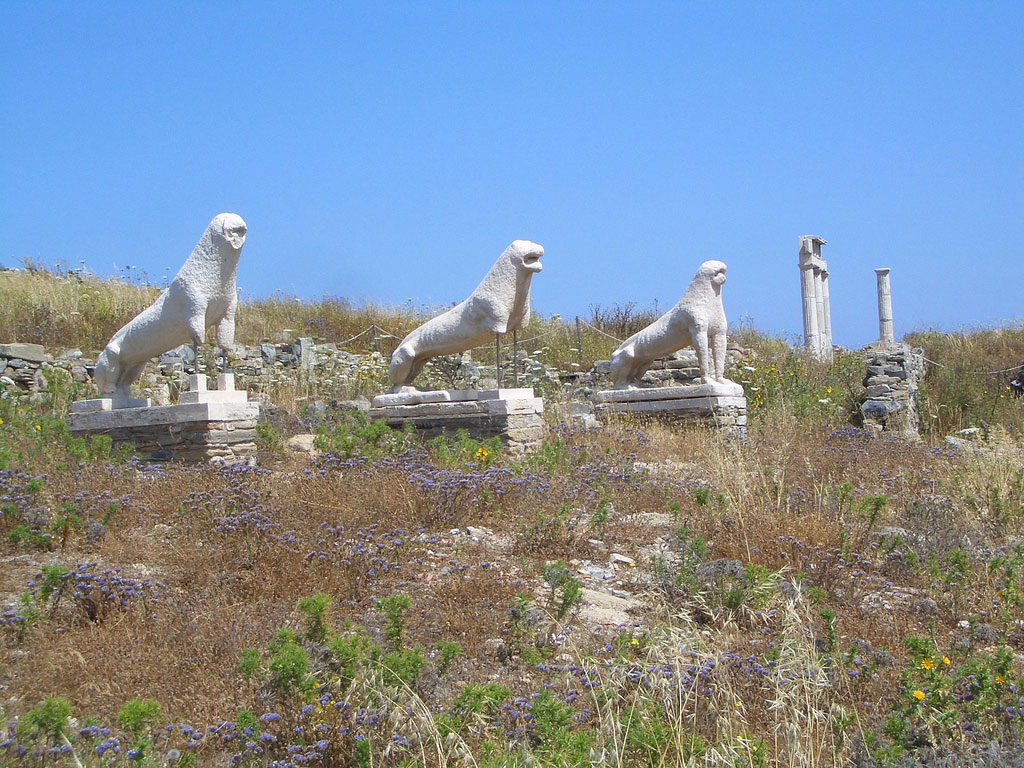 The famous lions of Delos island, one of the many archaeological sights a visitor can admire