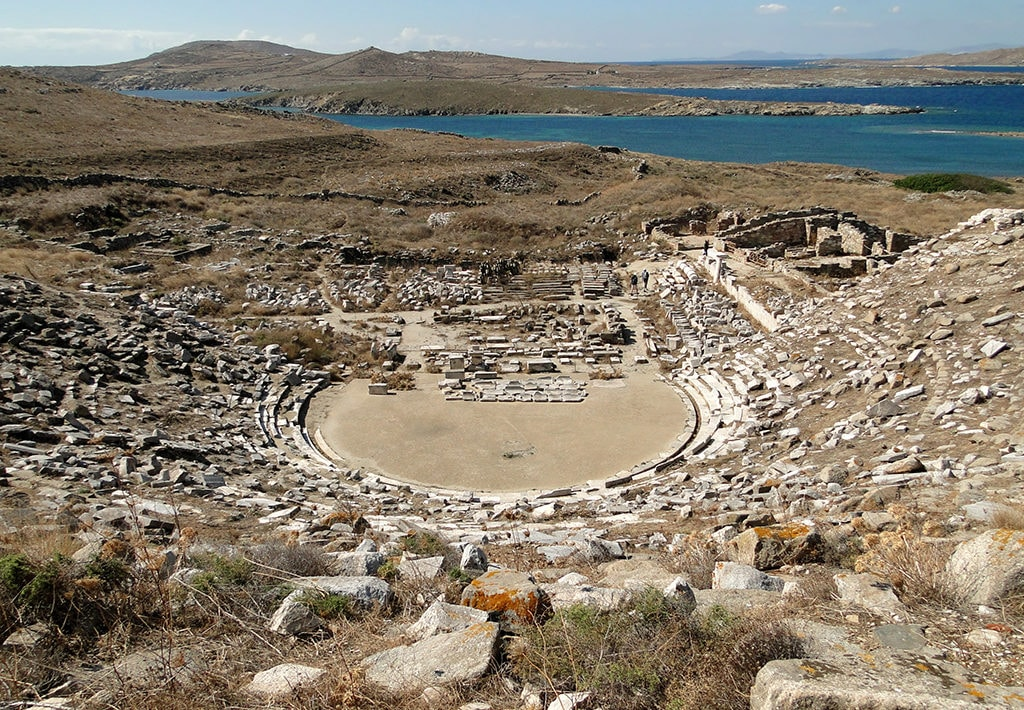 Panoramic view of the ancient theatre in the island of Delos, which is near Mykonos