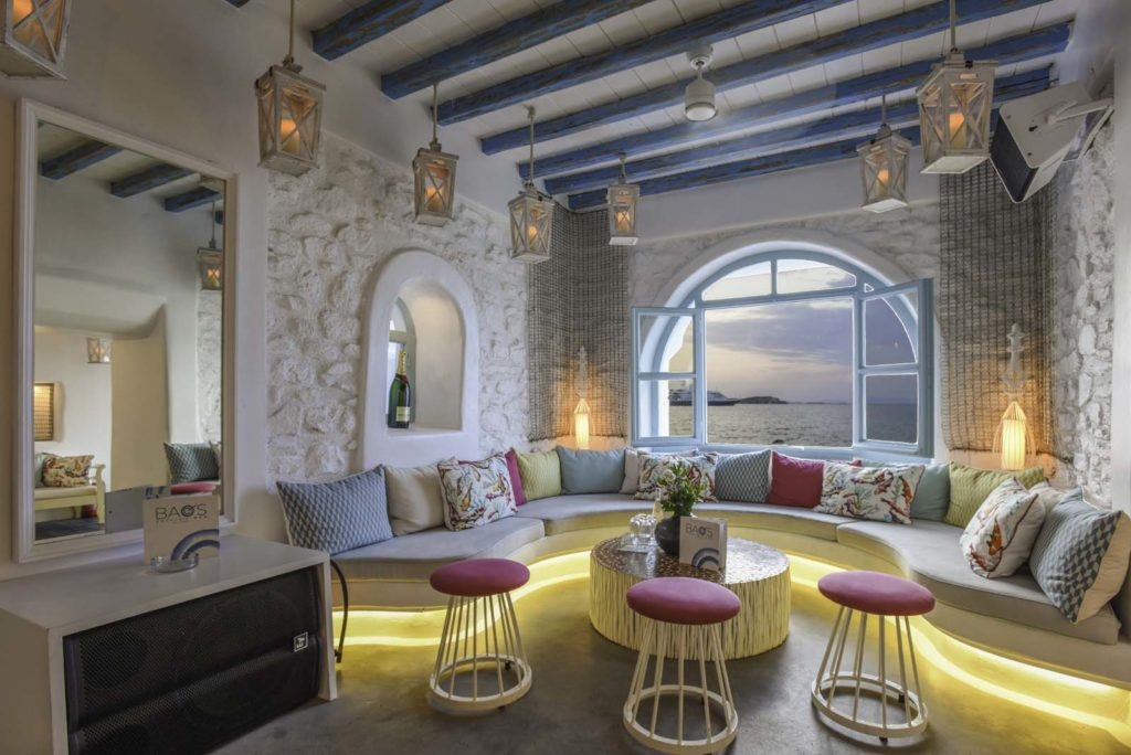 The interior of the Bao's, the cocktail bar in Mykonos. Stylish decoration and amazing view.