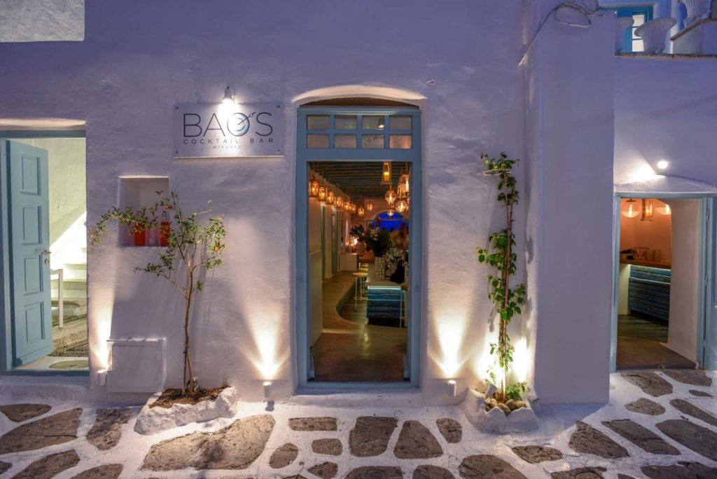 The entrance of Bao's bar, the cocktail bar by the sea in Mykonos town.
