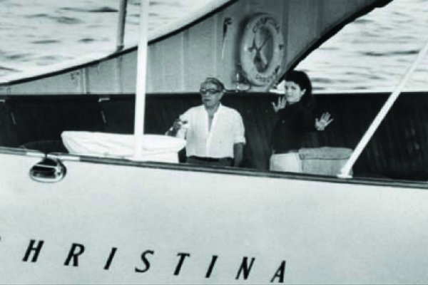 Aristotle Onassis and Jackie O' on the yacht Christina in Mykonos, where Semeli Hotel is located.