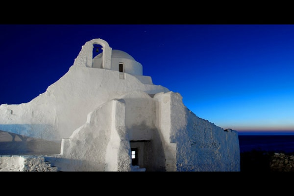 Dusk at one of the most beautiful historical chapels of the Mykonos island.