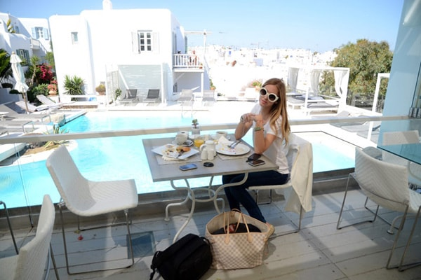 Fashion blogger Chiarra Ferragni at the restaurant of Semeli Best Hotel in Mykonos.