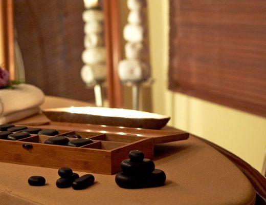 Pebbles at a table in Aqua Spa at Semeli Luxury Hotel in Mykonos.