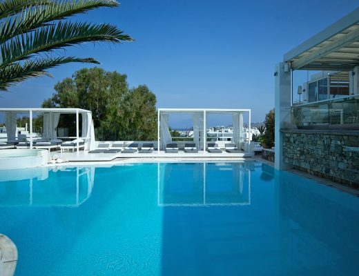The crystal clear swimming view of Semeli Best Hotel in Mykonos.
