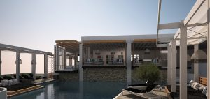 Sun loungers by the crystal clear swimming pool of Semeli Best Hotel in Mykonos.