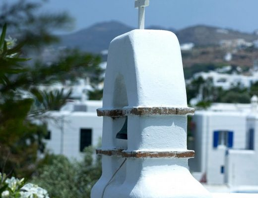 Small bell tower of a church in Mykonos, where Semeli Best Hotel is located.