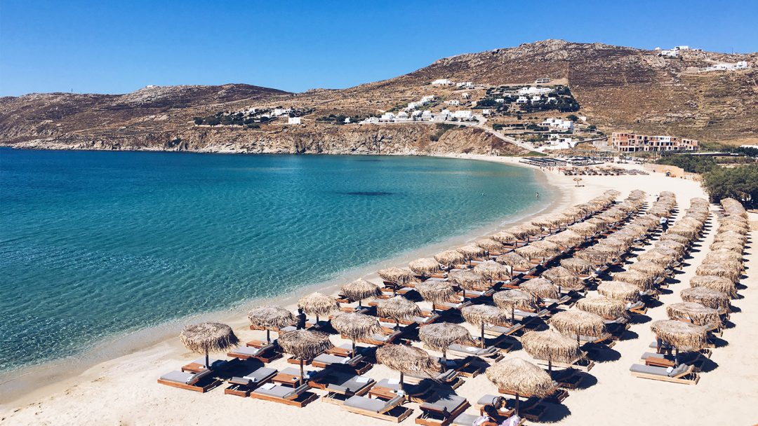 One the most famous beaches of Mykonos. Sun umbrellas, sun loungers and the crystal clear sea.