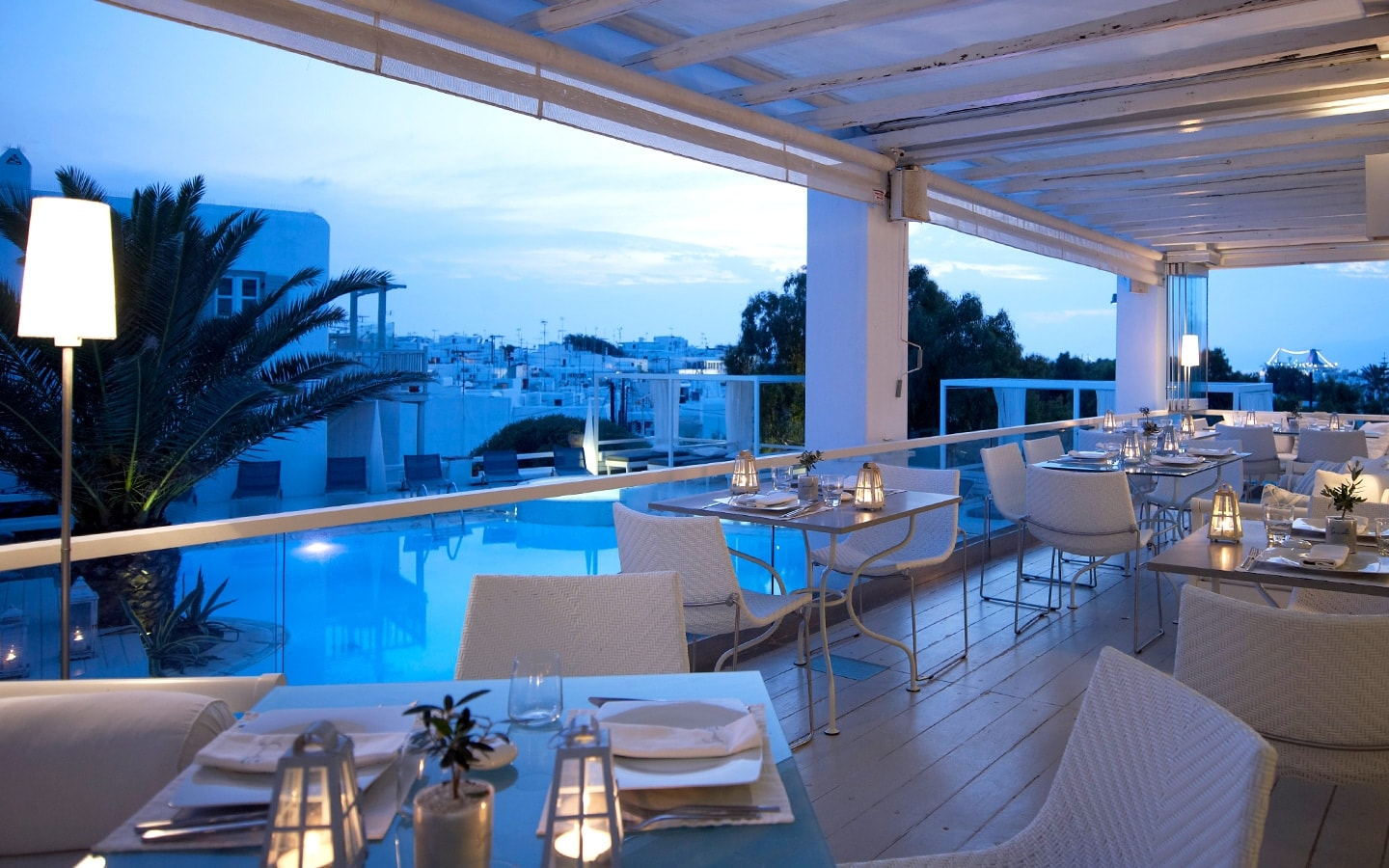 The Interior Of Thioni Restaurant Overlooking Semeli Best Luxury Hotel Pool Mykonos Tow