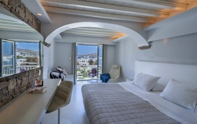 King size bed, desk and large mirror in the Semeli Superior double sea view rooms.