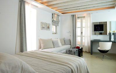Bedroom in the luxury Garden Suite accommodation at Semeli Best Hotel in Mykonos